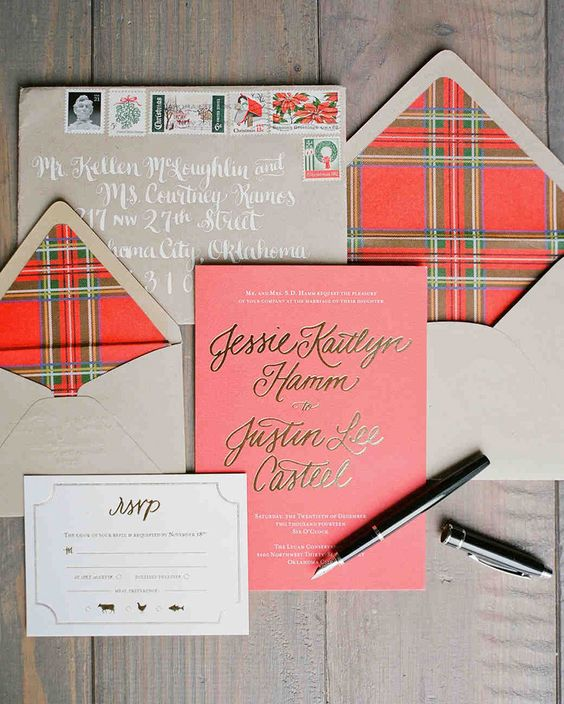 a cute plaid Christmas wedding invites for a cozy wedding with rustic touches