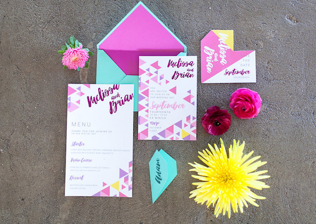 Colorful geometric wedding invitations