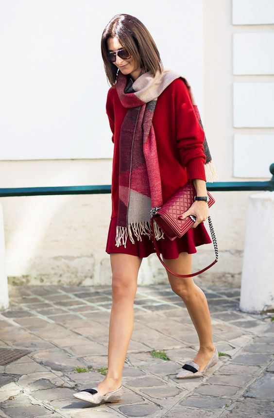 a red comfy dress with long sleeves, neutral flats and a scarf for comfort and warmth