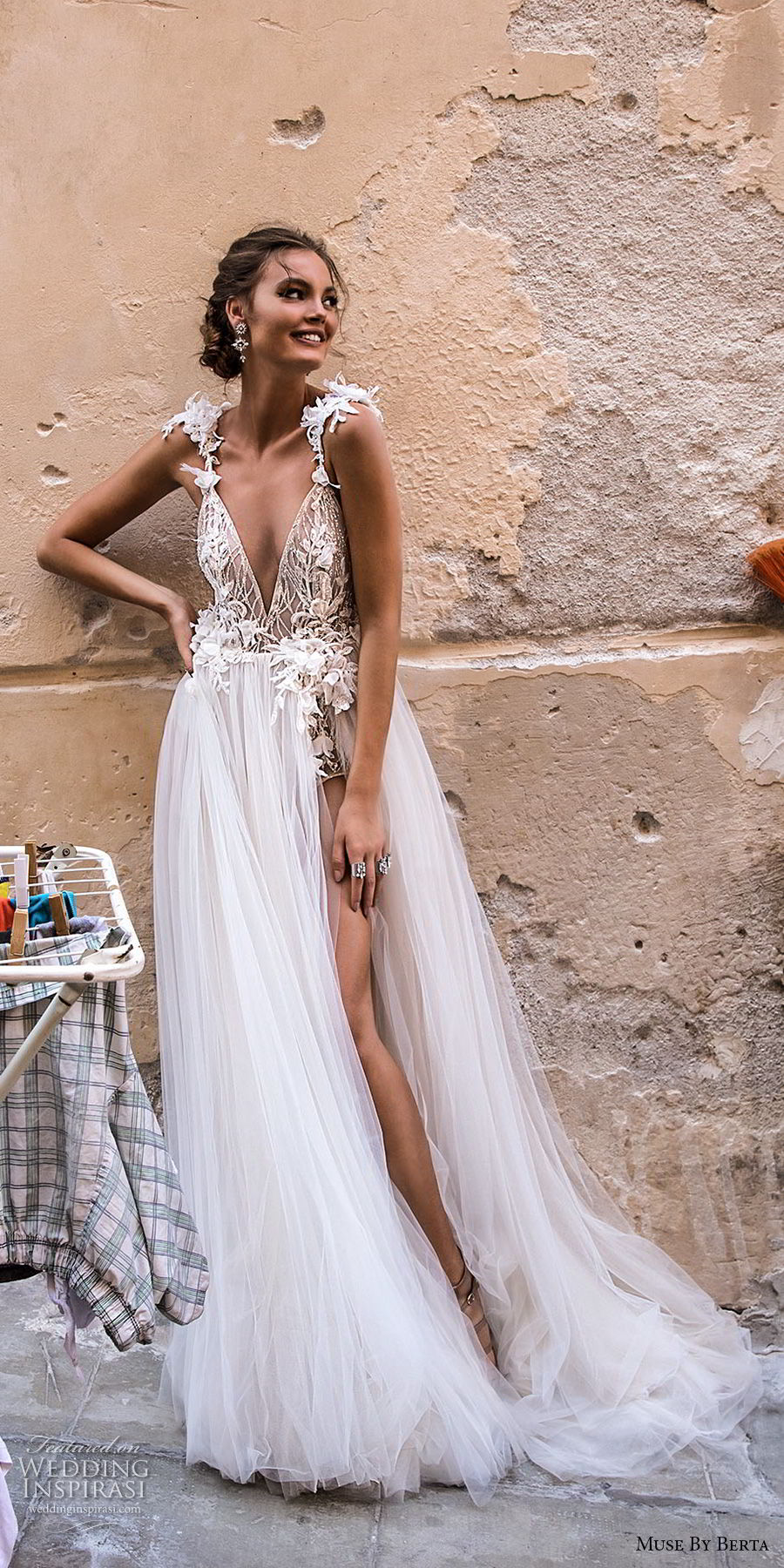 muse berta 2018 bridal sleeveless deep v neck heavily embellished high slit tulle skirt sexy romantic soft a line wedding dress open back chapel train (7) mv