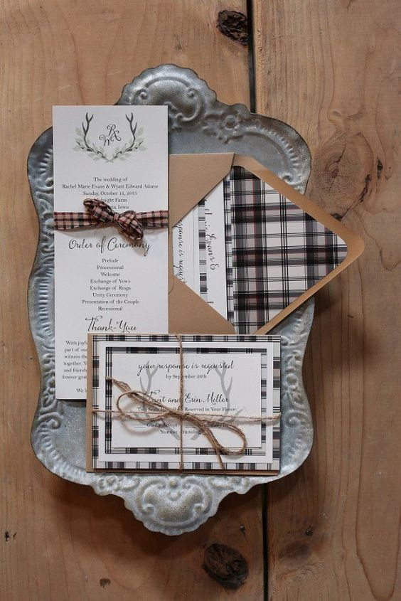 elegant plaid wedding invitaitons with twine and kraft paper will do for a rustic wedding