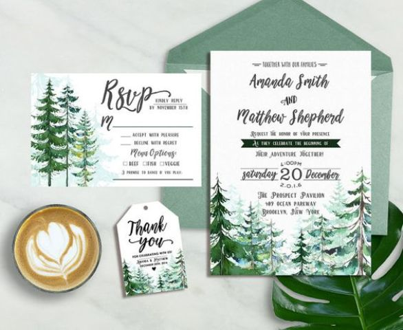 a cute green wedding invitation suite with fir trees to hint on a Christmas tree farm venue