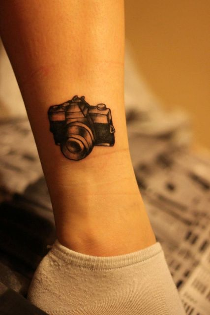 Interesting 3D camera tattoo on the ankle