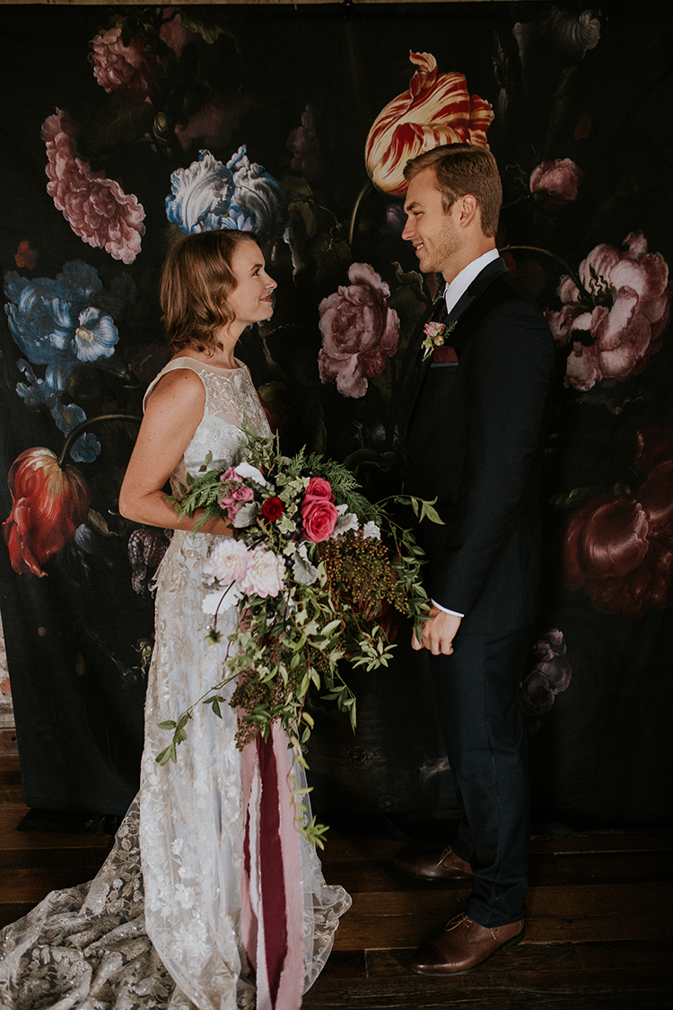 dramatic wedding inspiration - http://ruffledblog.com/artist-inspired-wedding-ideas-with-oxblood-and-navy