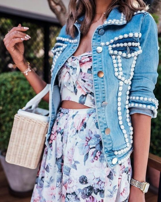 a floral two piece dress, a light blue denim jacket with pearls for a girlish look