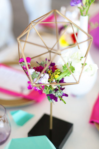 Geometric wedding centerpiece
