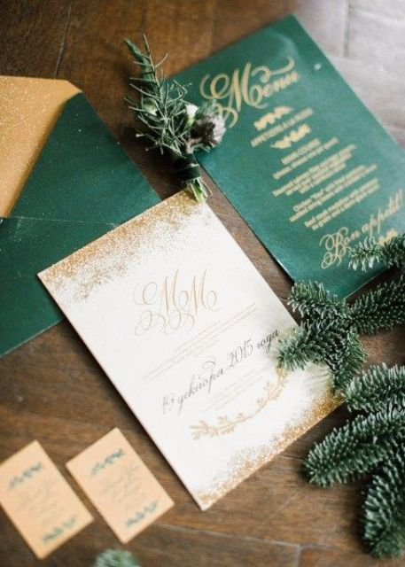 emerald and gold wedding stationery with glitter and calligraphy