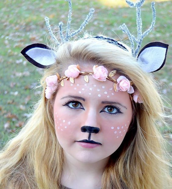 chic deer makeup, proper headbands and a simple costume for a deer look