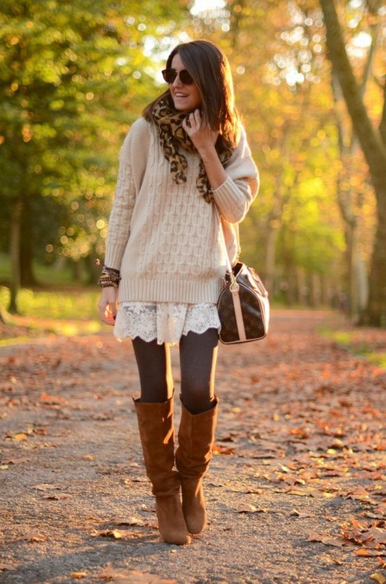 a white lace dress, a neutral sweater, grey tights, amber boots and a leopard scarf
