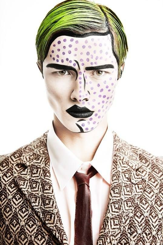 a glam pop art makeup looks crazy and very eye-catching on a man