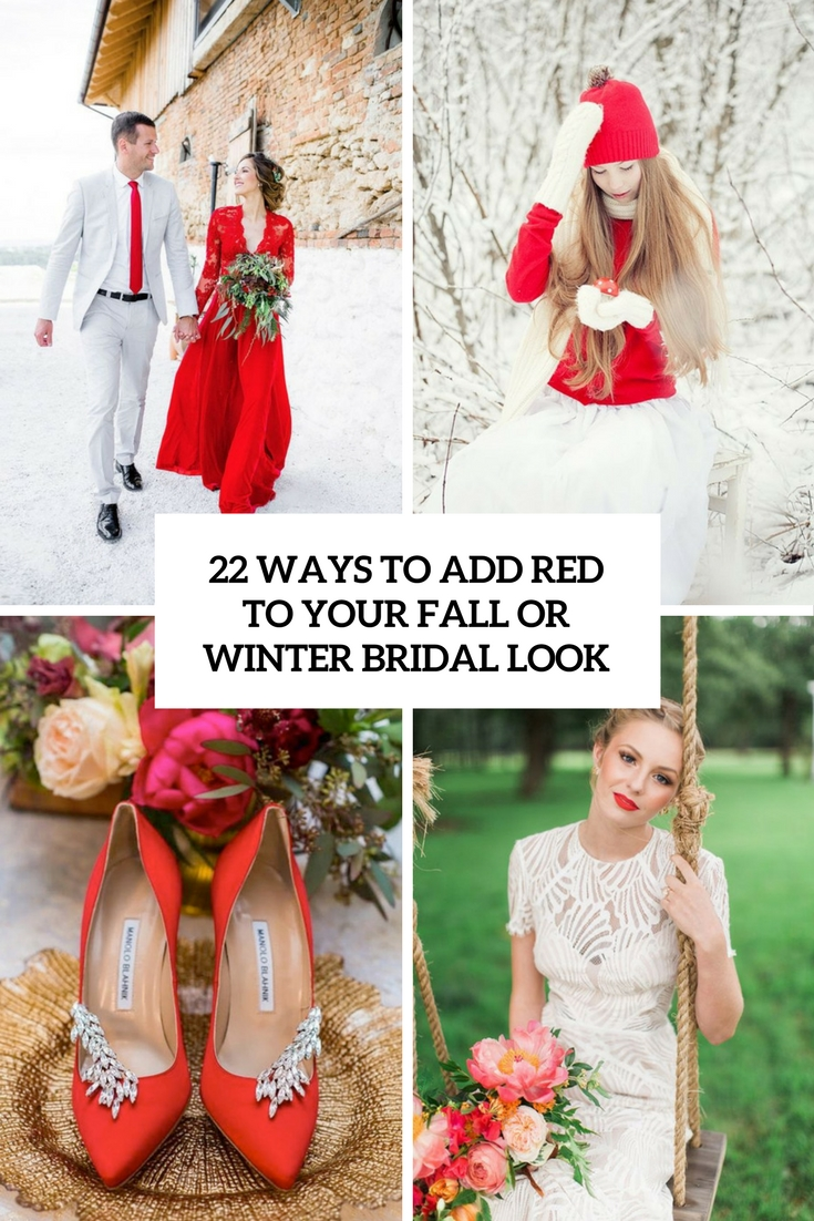 ways to add red to your fall or winter bridal look cover