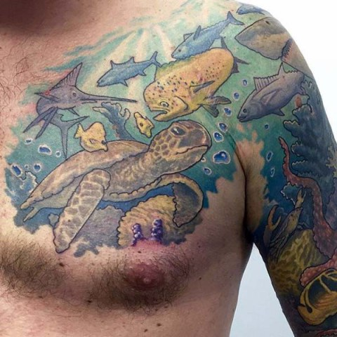 Turtle and fishes tattoo on the chest and arm