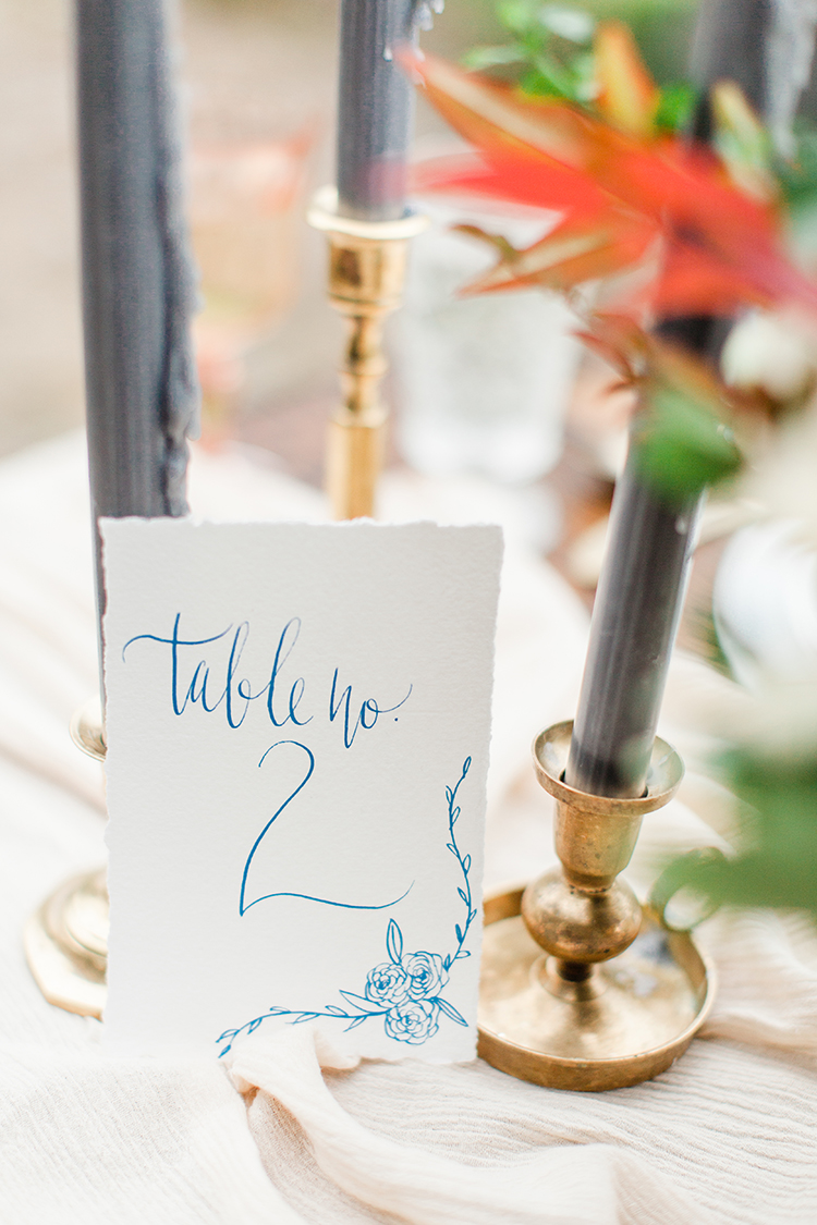 handwritten table numbers - http://ruffledblog.com/winery-vow-renewal-inspiration-with-autumn-leaves