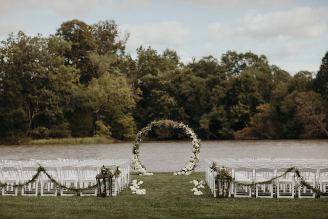 Floral wreath wedding ceremony