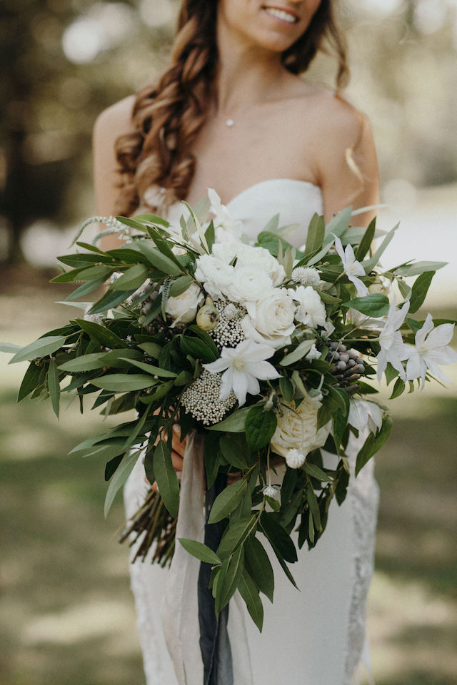 Greenery and white bridal bouquet