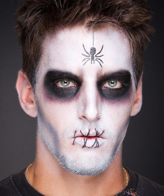 easy spider makeup for Halloween with a spider on your face