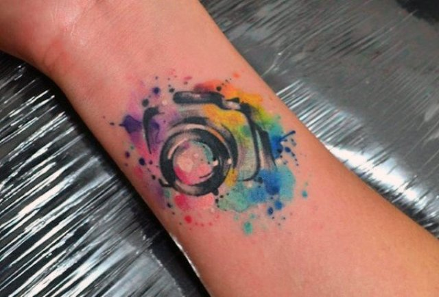 Small camera tattoo design