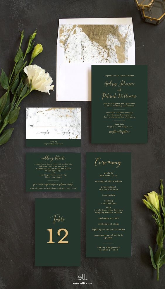 emerald and gold wedding invitation suite with a marble pattern looks very chic and refined