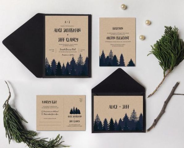 forest-inspired wedding invitations in navy and neutrals, will do for a woodsy or mountain wedding with a rustic feel