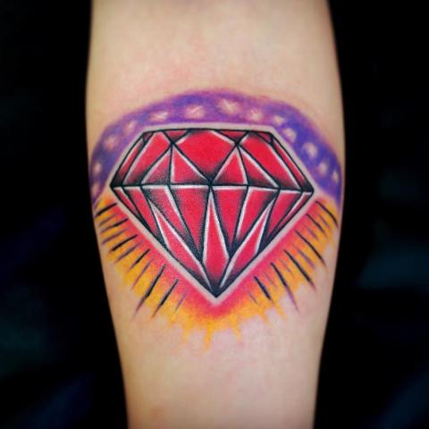 Red, purple and yellow diamond tattoo
