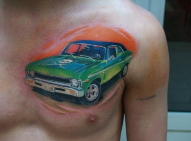 Green car tattoo on the chest