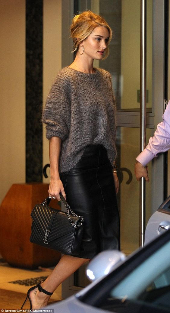 Rosie Huntington-Whiteley nailed in a slouchy grey jumper and leather pencil skirt