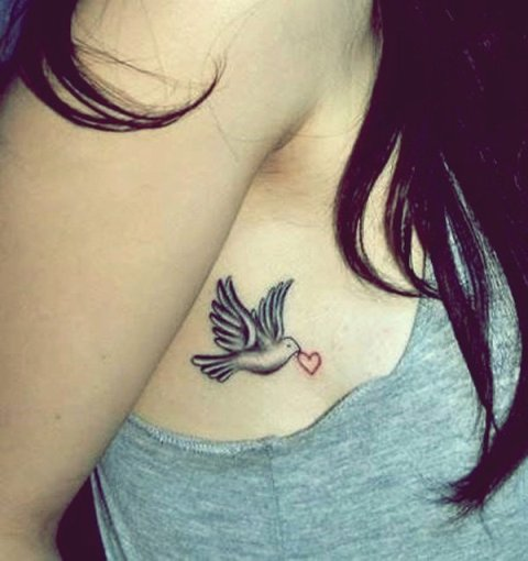 Heart and dove tattoo