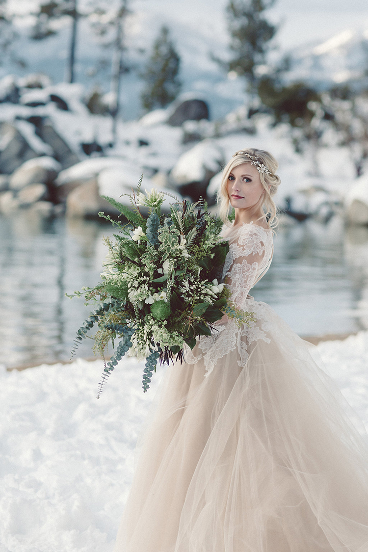 winter brides - photo by Lilly Red Creative http://ruffledblog.com/lake-tahoe-beach-wedding-inspiration