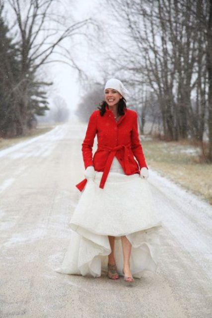 a short red coat will keep you warm during the outdoor shoots