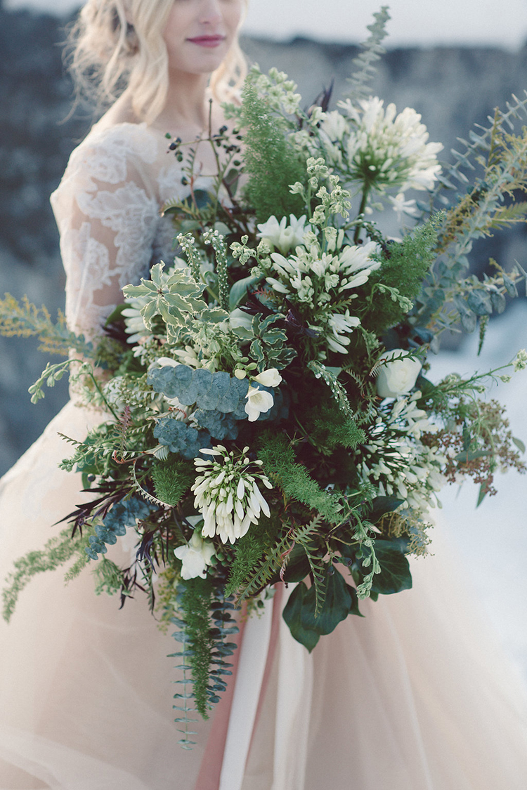 lush green bouquets - photo by Lilly Red Creative http://ruffledblog.com/lake-tahoe-beach-wedding-inspiration