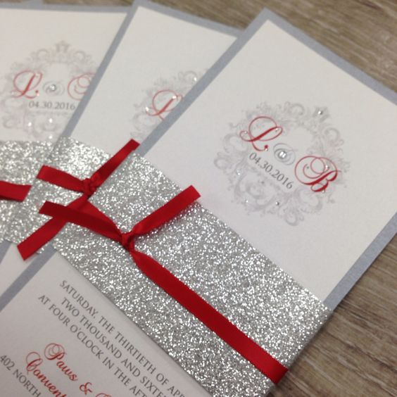 grey, silver glitter and red wedding invitations for a sparkly glam Christmas wedding