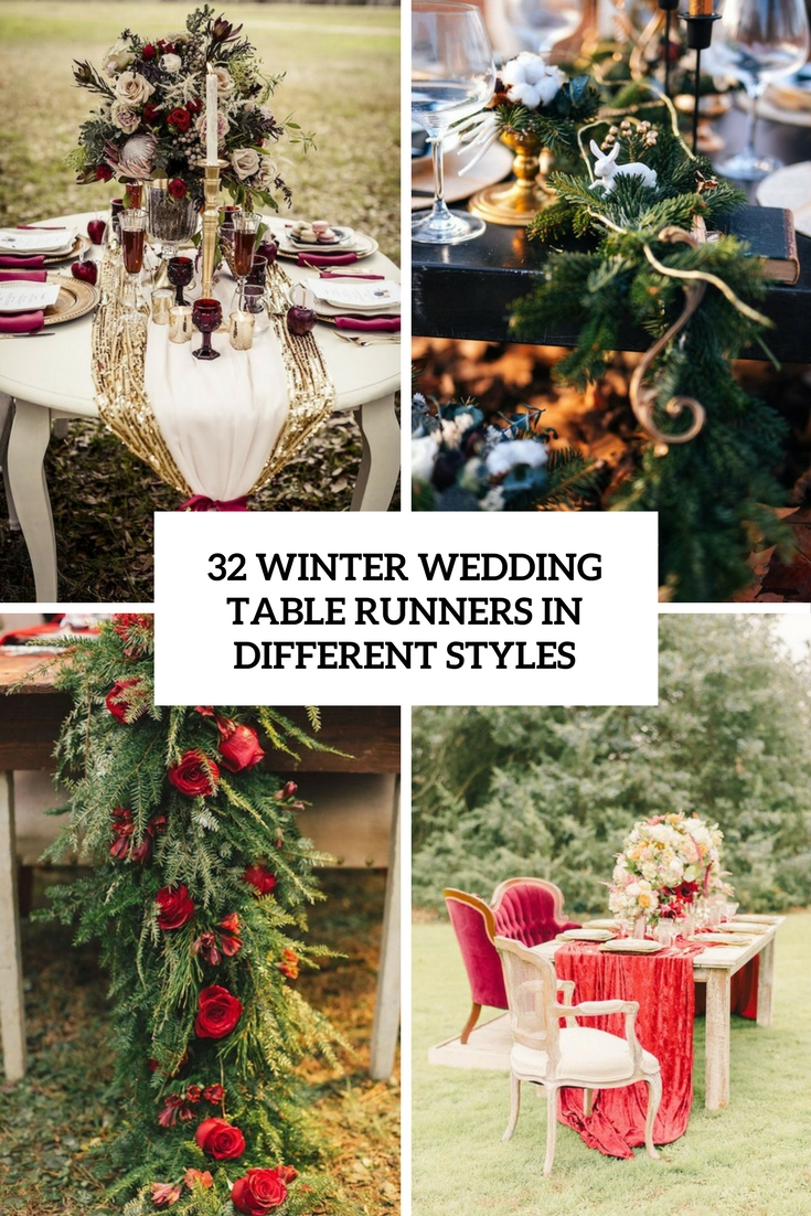 winter wedding table runners in different styles cover