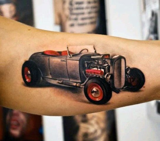 Black and red car tattoo