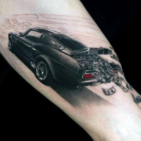 Black car and money tattoo