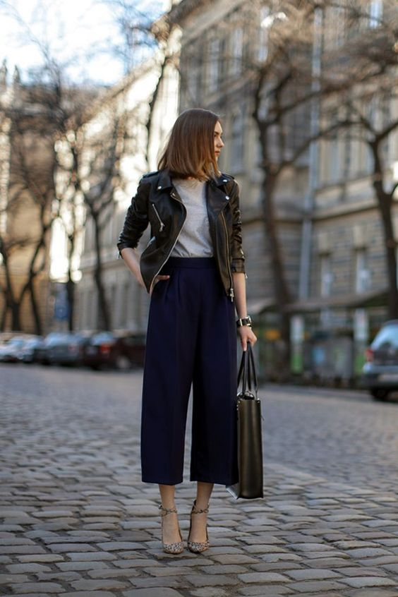 navy culottes, a grey tee, a black leather jacket and leopard print shoes for a trendy outfit