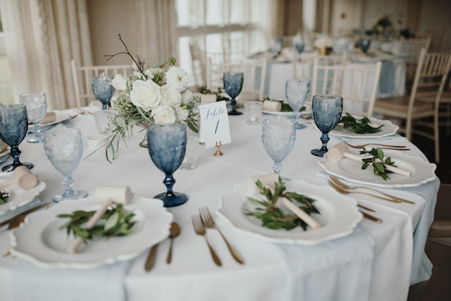 Blue, white, and green reception