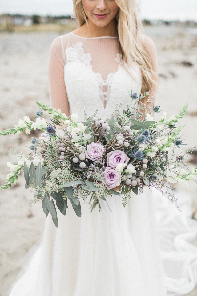 Lavender and thistle bridal bouquet