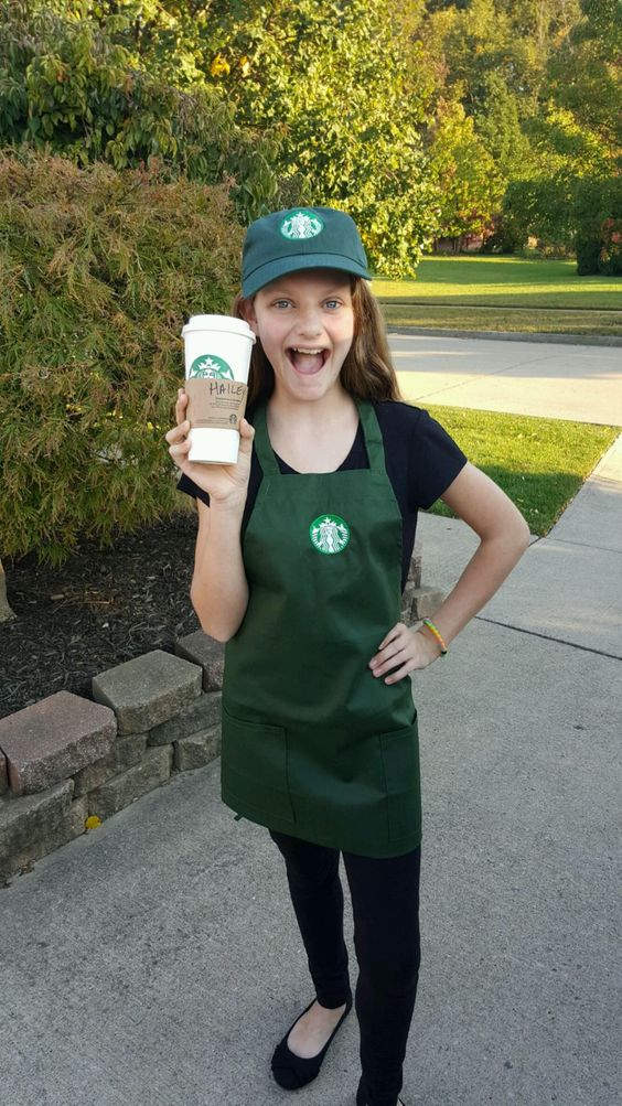 Starbucks employee costume plus an empty cup from Starbucks