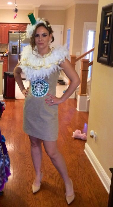a white feather boa becomes whipped cream in this simple frappuccino costume
