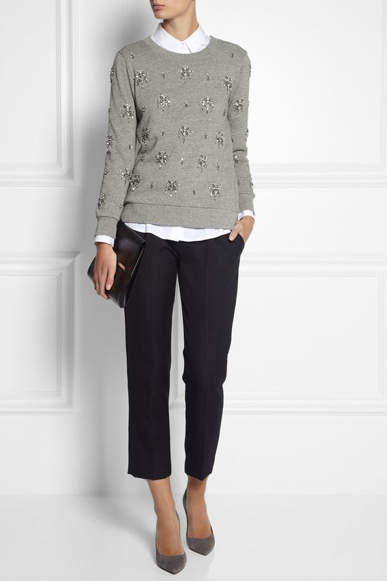 cropped navy pants, grey suede shoes, a white shirt and a grey embellished sweater for work