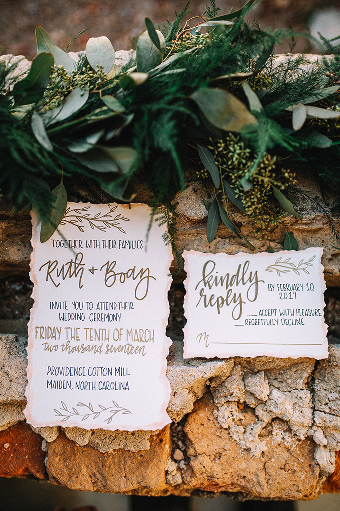 This raw edge wedding stationery was created especially for the industrial wedding shoot with romantic touches