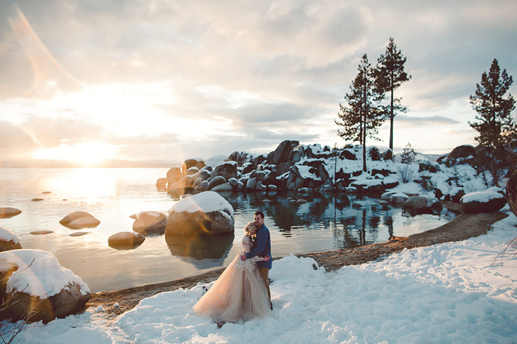 Lake Tahoe Beach Wedding Inspiration - photo by Lilly Red Creative http://ruffledblog.com/lake-tahoe-beach-wedding-inspiration