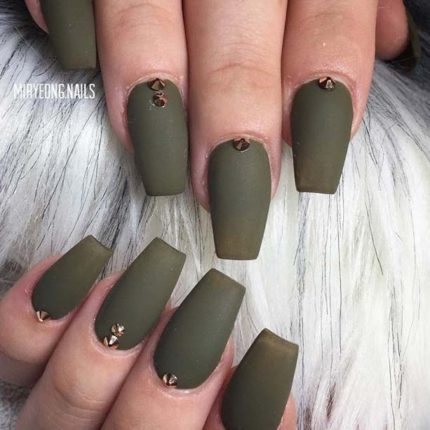 Matte Khaki Green with Embellishments for Matte Nail Designs for Fall