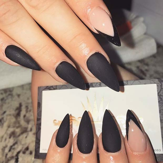 Trendy Black Matte Nails for Matte Nail Designs for Fall