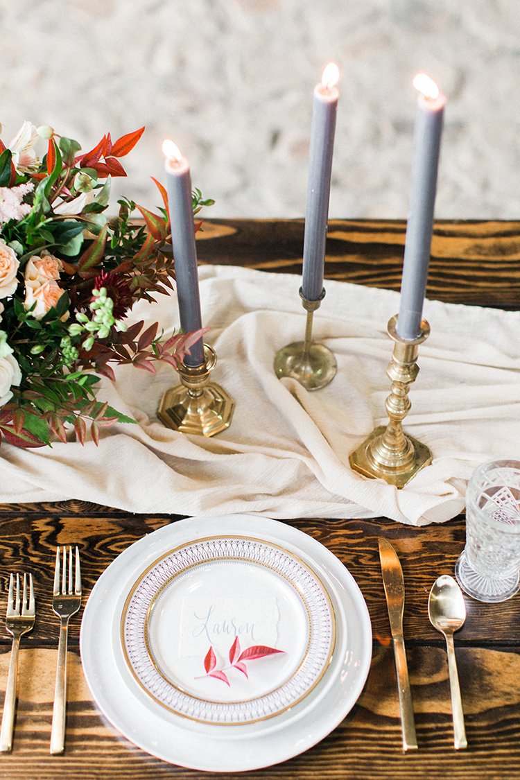 romantic table setting inspiration - http://ruffledblog.com/winery-vow-renewal-inspiration-with-autumn-leaves