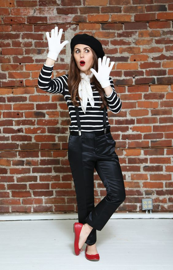 a simple Halloween mime costume with black pants, a striped shirt, red flats, white gloves and a black beret
