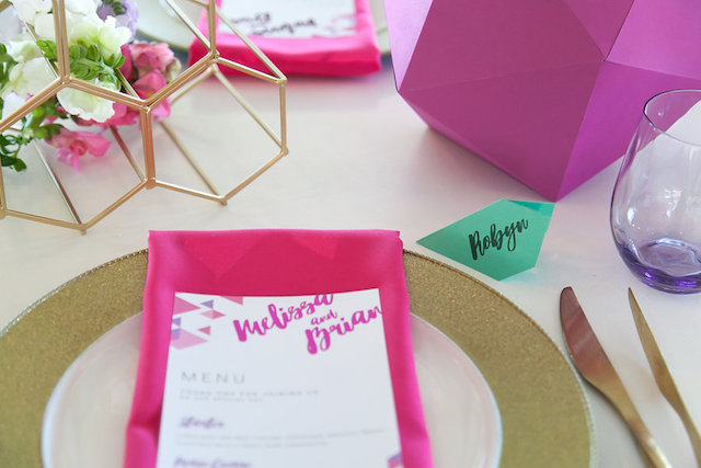 Bright and colorful wedding place setting