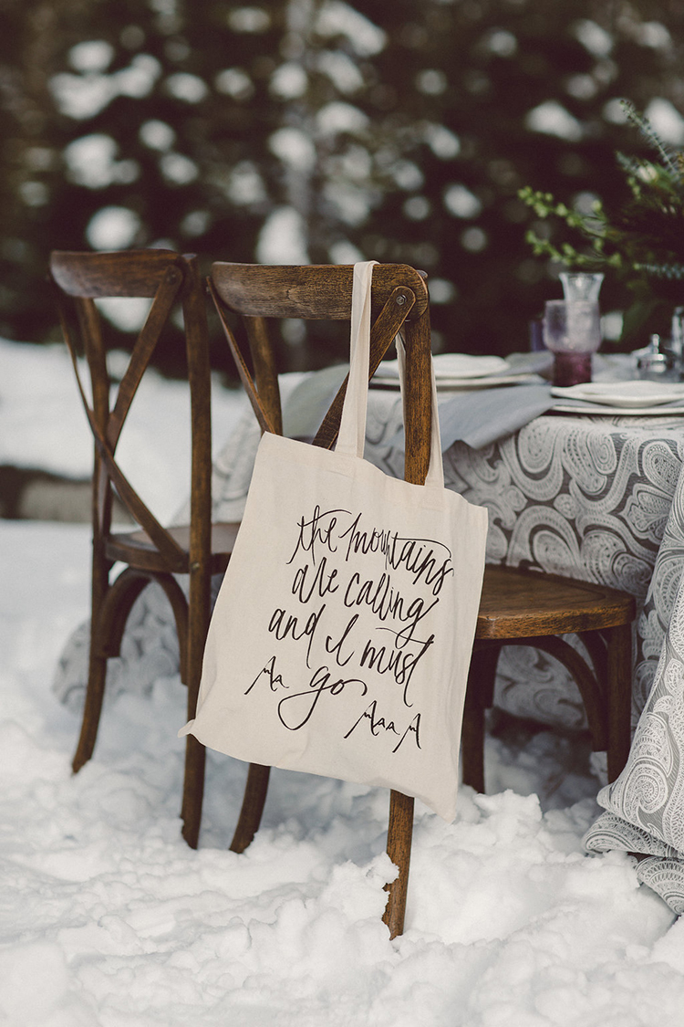 wedding favor bags - photo by Lilly Red Creative http://ruffledblog.com/lake-tahoe-beach-wedding-inspiration