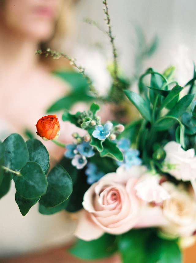 Pink rose and greenery bridal bouquet