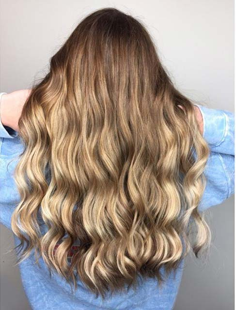 Dark Blonde Balayage in Waved Style